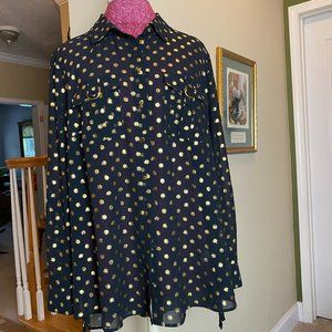 Women's Black Sheer With Shiny Gold Blouse 14-16W